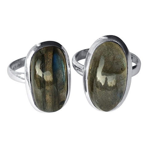 Elongated Labradorite Rings