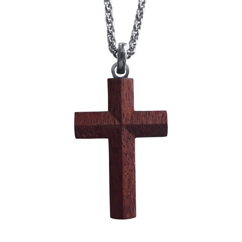 Guibourtia Wood Cross with Stainless Steel Chain