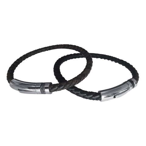 Black Leather Bangle with Steel Clasp