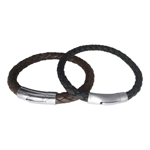 Mens Leather Steel Clasp Bracelets