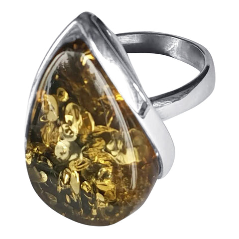 Green Glinting  Amber Ring