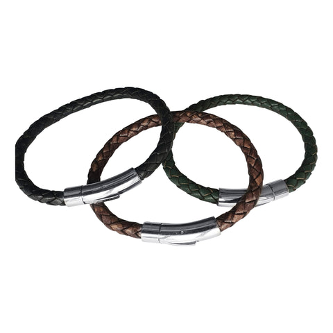 Trio of Mens Leather Bracelets
