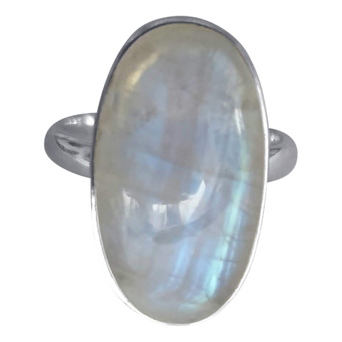 Elongated Silver Moonstone Ring