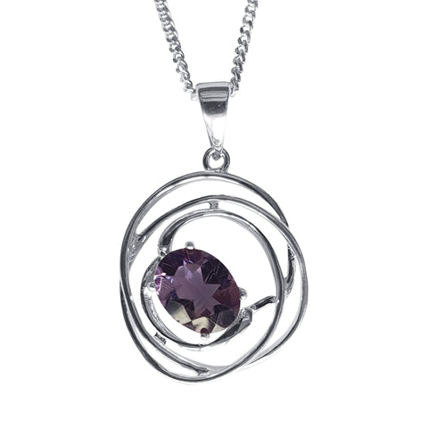 Amethyst with Silver Helix Pendant