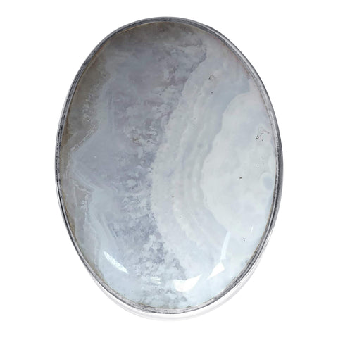 Concentric Blue Lace Agate Silver Ring