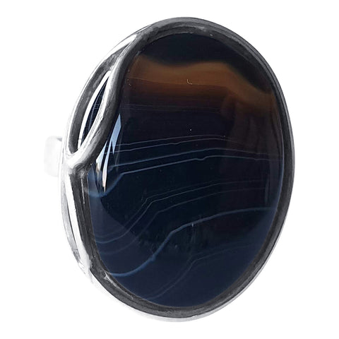 Delicate Banded Black Onyx and Silver Ring