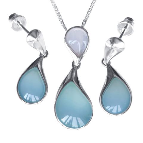 Droplet Aqua Agate Earrings and Pendant