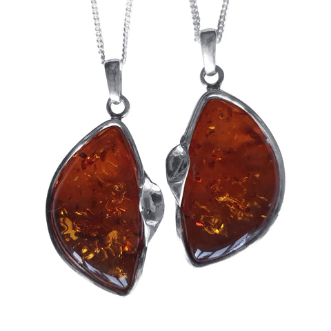 Amber Foliate Pendants