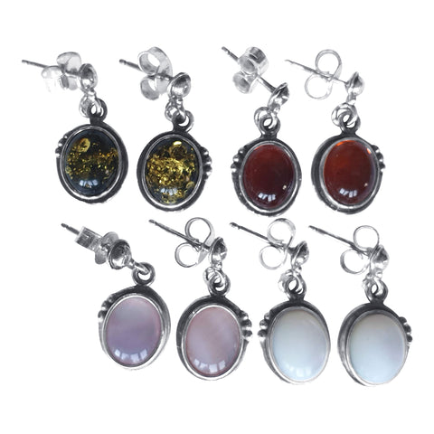 Gemstone Dotted Earrings