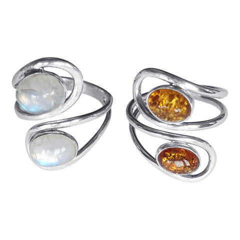 Double Swirl Silver Rings with or Moonstone Gemstones