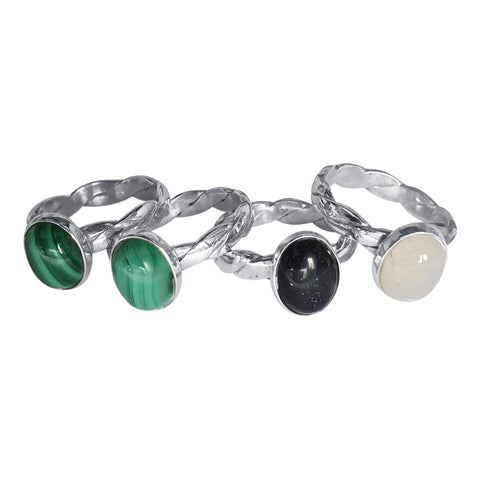 Braided Silver Shank Rings with Gemstones