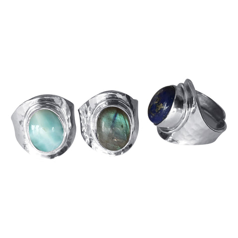 Hammered Silver and Gemstone Rings 2