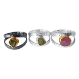 Hammered Silver Rings set with Raw Gemstones 1