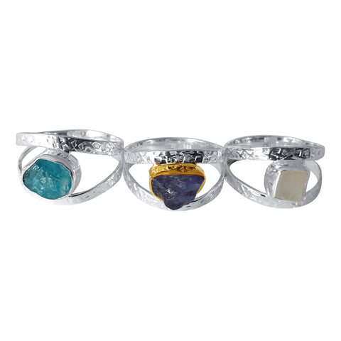 Hammered Silver Rings set with Raw Gemstones 2