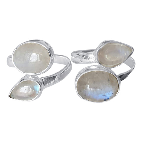 Double Moonstone Silver Ring