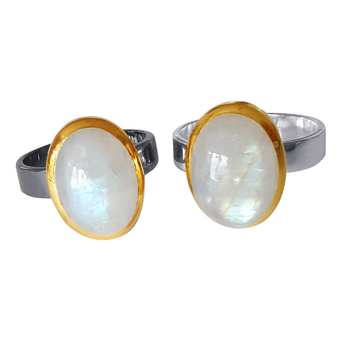 Gold Rimmed Silver Moonstone Rings