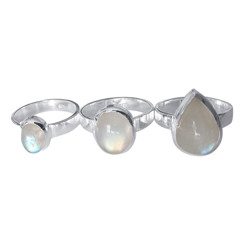White Blue Rainbow Moonstone Rings