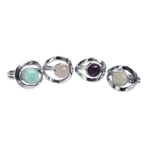 Wrapover Gemstone Silver Rings