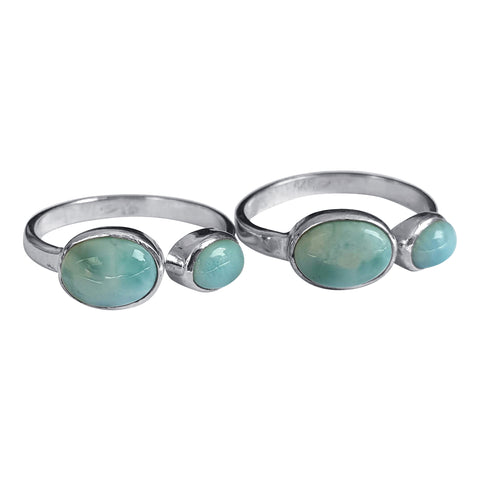 Double Oval Gemstone Larimar Ring