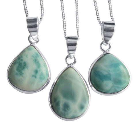 Teardrops of Larimar in Silver
