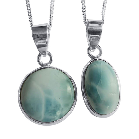 Larimar Sky Blue Pendants set in Silver