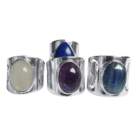 Tapered Shank Gemstone Silver Rings