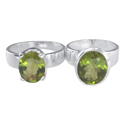 Peridot Faceted Meteor Rings
