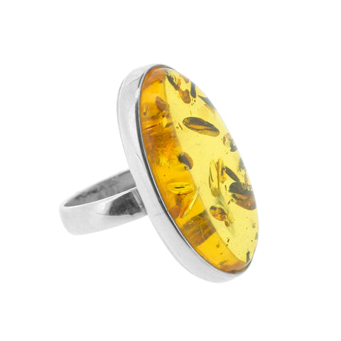 Handmade Oval Amber Sterling Silver Ring