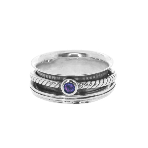 Braided Gemstone Spinning Ring