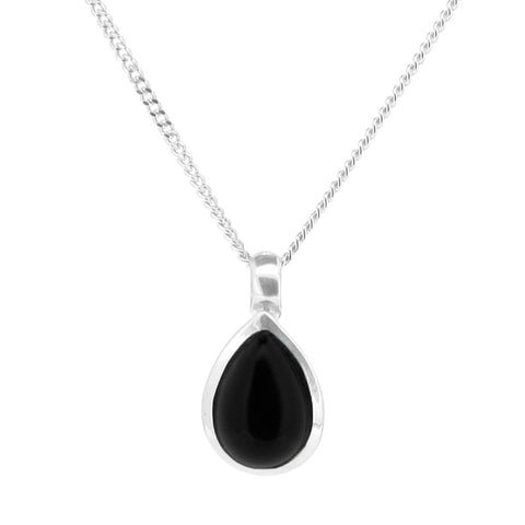Small Black Onyx Teardrop Necklace