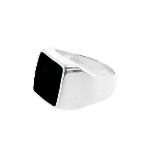 Sterling silver signet ring with Black Onyx stone