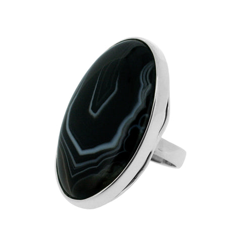 Black Onyx Banded Ring