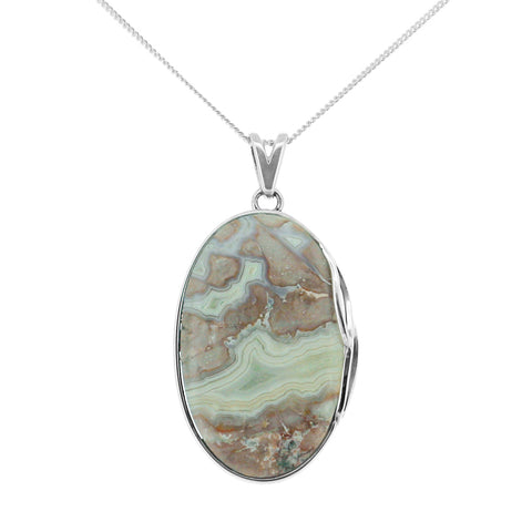 Sterling Silver Crazy Lace Agate Necklace