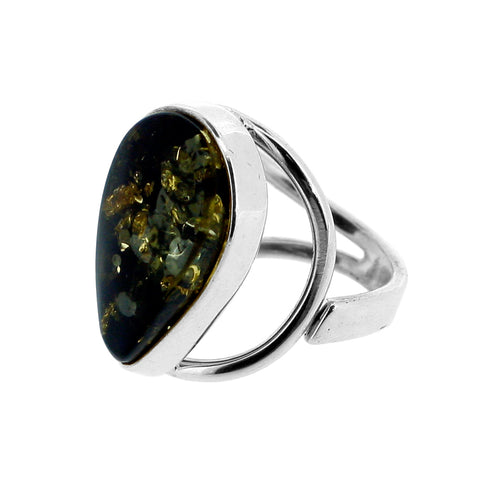 Green Amber Teardrop Ring
