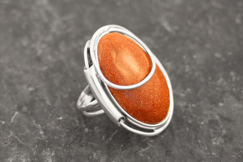 Sterling Silver Goldstone Ring
