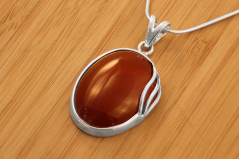 Handmade Sterling Silver Carnelian Necklace