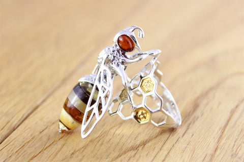 Silver & Gold Bee Ring