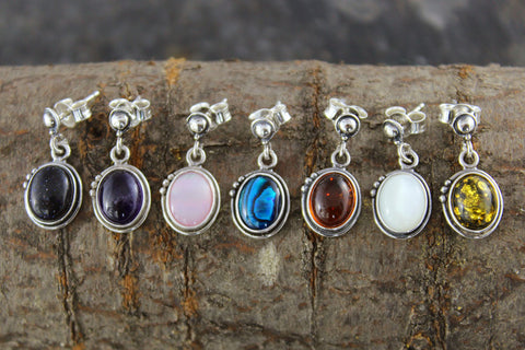 Individual Gemstone Earrings in sterling silver