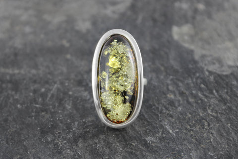 Long Green Amber Ring