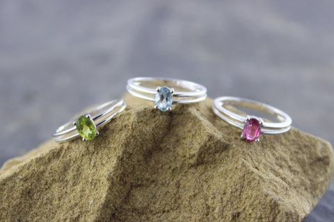 3 White Gold Gemstone Rings