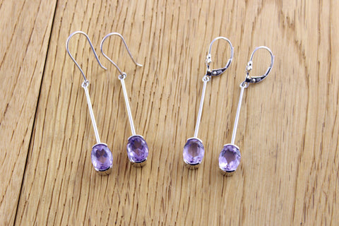 White Gold Amethyst Earrings
