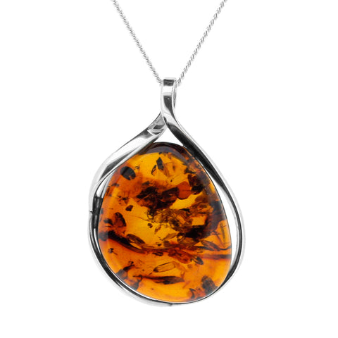 One of a Kind Silver Baltic Amber Necklace with Chain
