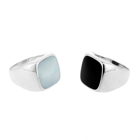 Mother of Pearl and Black Onyx Signet Rings