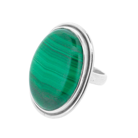 Large Malachite & Silver Bedded Ring
