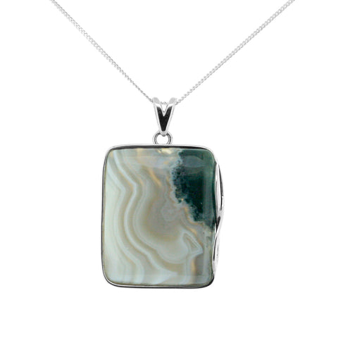 Square Moss Agate Necklace
