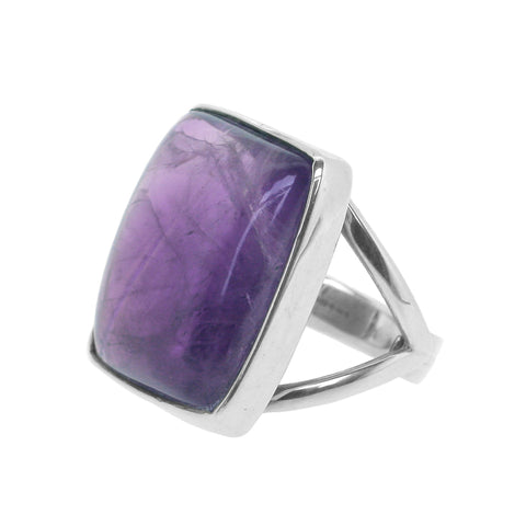 Double Parted Square Amethyst Ring