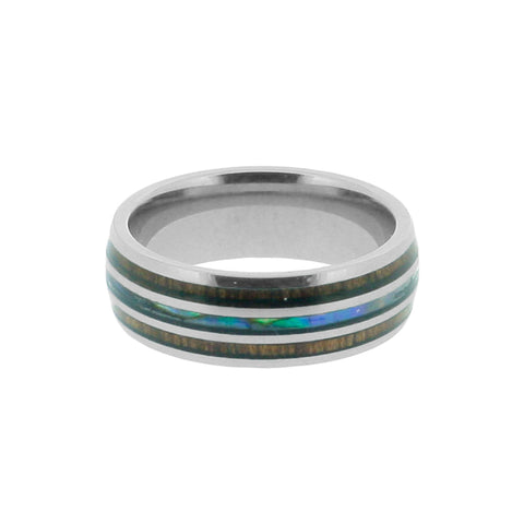 Tungsten, Wood, & Abalone Ring