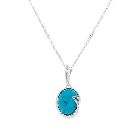 Turquoise Wave Pendant and Chain