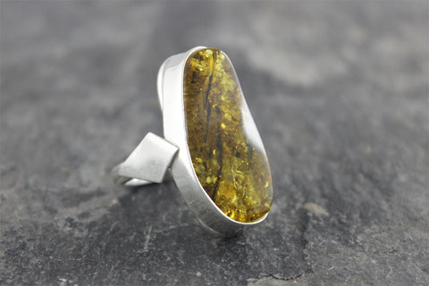 Unique Green Amber Ring