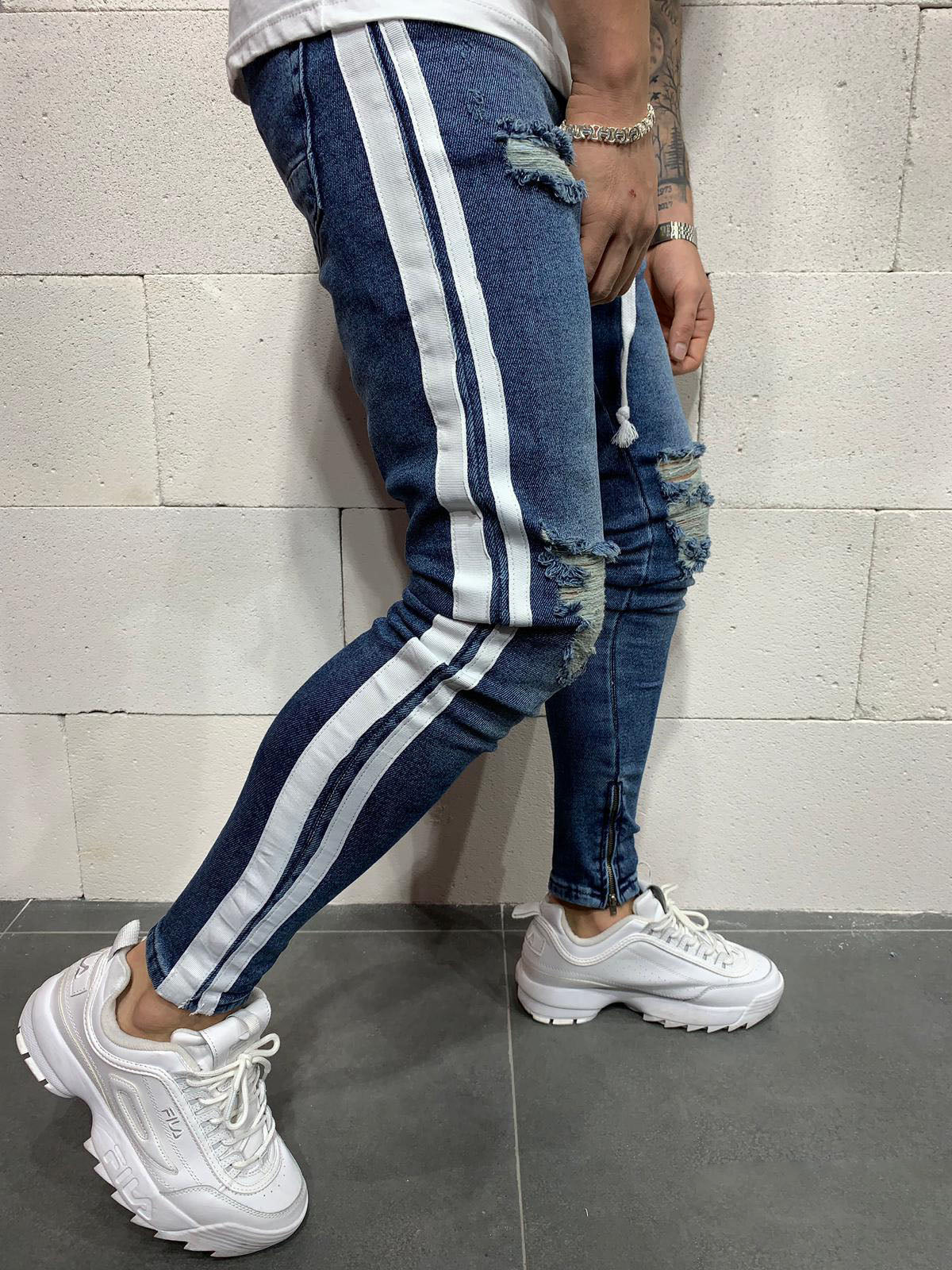 Destroyed Skinny Cropped Stripe Denim B4739